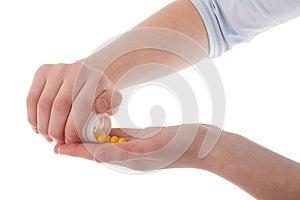 Hands Holding Vitamins Stock Photo - Image: 24742960