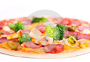 Pizza With Chicken And Broccoli Royalty Free Stock Image - Image: 24756226