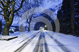 Highway Road Covered In Snow Stock Photography - Image: 24769702