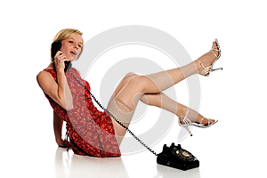 Pinup Woman Holding A Vintage Telephone Stock Photography - Image: 24771202