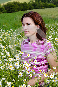 Woman In Chamomile Stock Image - Image: 24786281