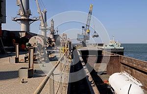 Cargo Ship Main Deck - Tanker On Barge - Crane Royalty Free Stock Images - Image: 24796849