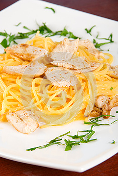 Pasta With Chicken Meat Stock Photo - Image: 24799000