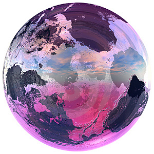 Glass ball contains the earth Stock Photography