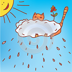 Frame With Cat And Rain Royalty Free Stock Photography - Image: 24819967