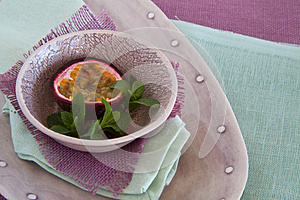Bowl Of Granadilla On Colorful Linen Stock Image - Image: 24832861