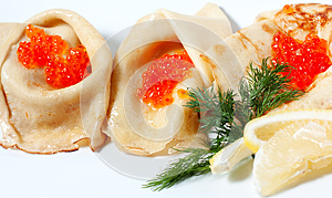 Pancakes With Red Caviar Stock Images - Image: 24835004