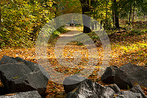 Autumn Landscape: The Road, The Stones Royalty Free Stock Images - Image: 24835129