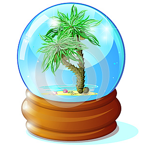 Palms In Glass Ball Royalty Free Stock Image - Image: 24844026