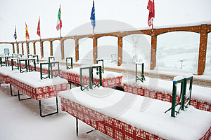 Closed Cafe In The Snowfall Stock Photo - Image: 24846260