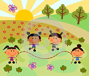 Park Scene With Jump Rope Stock Image - Image: 24846421