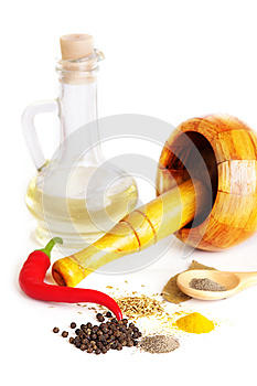 Mortar With Pestle, Variety Of Spices And Oil Royalty Free Stock Image - Image: 24854206