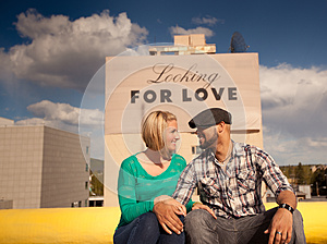 Engaged Couple With Love Sign Stock Images - Image: 24855804