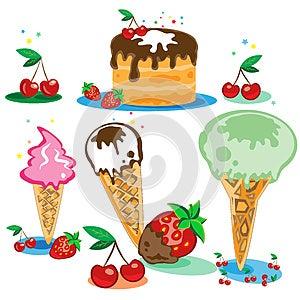 Set Der Geschmackvollen Eiscreme Und Des Kuchens Lizenzfreies Stockbild - Bild: 24856156