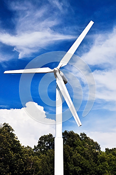 A Wind Turbine  With Blue Sky. Stock Photography - Image: 24856432