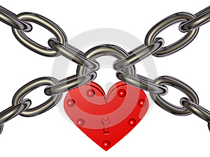 Heart - Lock And Chain Stock Images - Image: 24876954