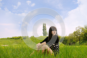 Girl  On  Grass Royalty Free Stock Photo - Image: 24890125
