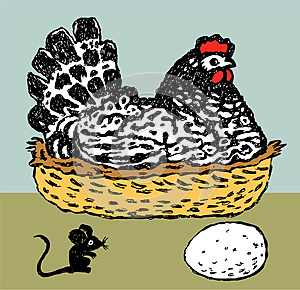 Hen And Mouse Royalty Free Stock Image - Image: 24904356