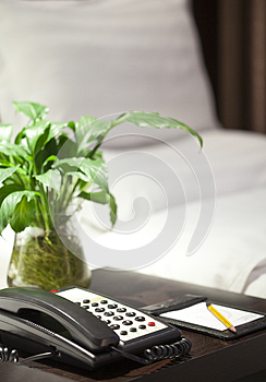 In The Hotel Bedroom Put The Paper And Pen Stock Photography - Image: 24905052