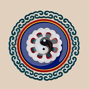 Bas-relief Sculpture Of Yin Yang Symbol Stock Photos - Image: 24906363