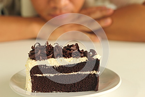 The Man And  Chocolate Cake Royalty Free Stock Images - Image: 24922649
