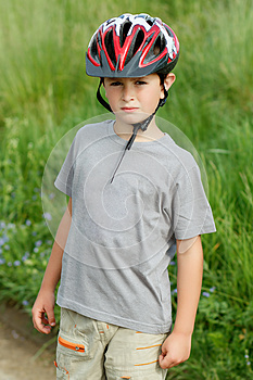 Portrait Of Boy Bicyclist With Helmet Stock Photo - Image: 24924410