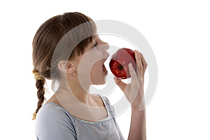 Girl With Apple Stock Image - Image: 24929131