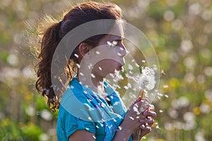 Young Girl Blows A Dandelion Stock Photos - Image: 24939523