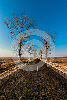 Landscape With Straight Empty Road Stock Photos - Image: 24939633
