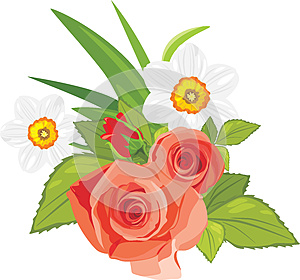 Roses And Daffodils. Festive Bouquet Royalty Free Stock Photo - Image: 24942505