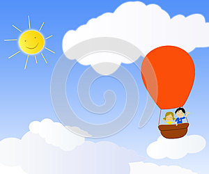 Children In A Hot Air Balloon Royalty Free Stock Photography - Image: 24995117