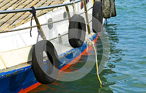Motorboat With Mooring Rope Stock Photos - Image: 24997333