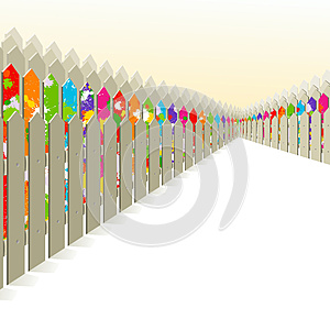 Bright Fence Among The Gray. Royalty Free Stock Images - Image: 24999849