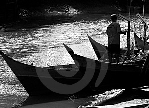 Silhouette Boats In Black & White Stock Image