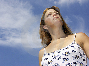 Woman And Sky #2 Stock Photography