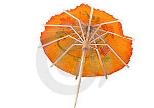 Orange Cocktail Umbrella #3 Stock Image