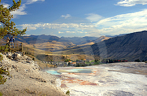Top Of Mammoth Hot Springs With Photographers Stock Photography