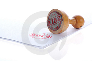 Sold rubber wood stamp Royalty Free Stock Image