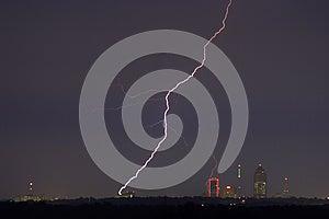 Lightning Cityscape Stock Image - Image: 25008301