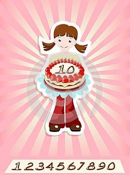 Girl With Birthday Cake Royalty Free Stock Photos - Image: 25008378