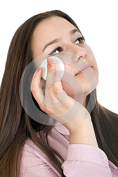 Woman With Cotton Pad Royalty Free Stock Image - Image: 25035086