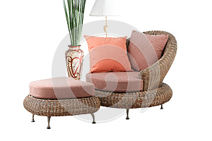 Rattan Sofa And Stool Royalty Free Stock Photography - Image: 25043887
