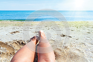 Wet Female Feet On The Beach And Sand Stock Images - Image: 25051744