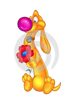 Cartoon Dog And Flower Congratulations Royalty Free Stock Image - Image: 25053156