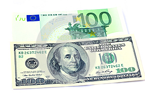 Banknotes Of 100 Dollars And 100 Euro Stock Photography - Image: 25054972