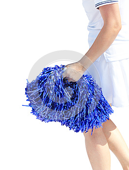 Young Cheerleading Girl Violet Colored Pom-pon Royalty Free Stock Photo - Image: 25063805