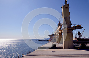 Big Cargo Ship Upper Deck - Water View - Industries Royalty Free Stock Photo - Image: 25071165