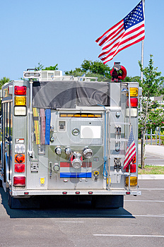 Fire Truck With United States Flag Royalty Free Stock Photo - Image: 25072535