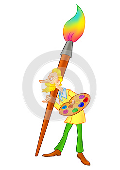 Artist And Paint Caricature Royalty Free Stock Photos - Image: 25094458