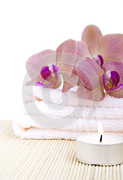 Orchid On Towel Royalty Free Stock Images - Image: 25100749